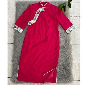 Vintage Pink Cheongsam Embroidered Dress M
